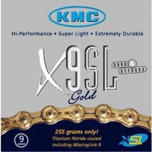 KMC X9-SL Gold 9 Speed Chain (KMC 9 Speed Chains)