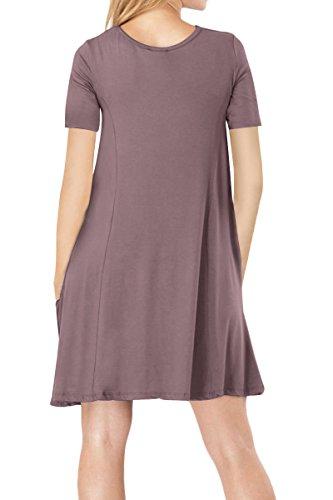 YMING Vestito lungo dalla camicia lunga del vestito da estate della maglia allentata casuale della manica corta delle donne Caffè