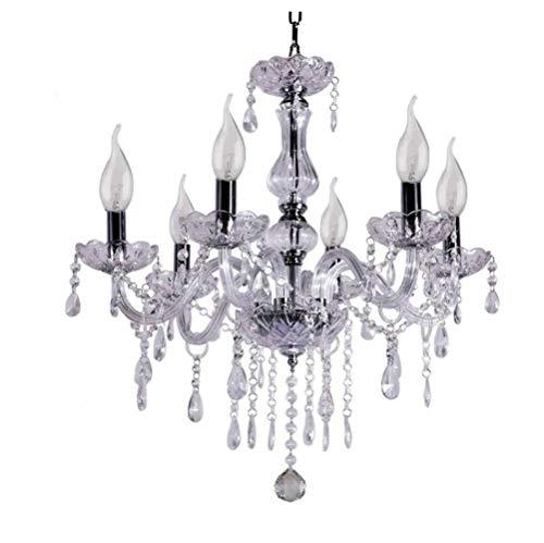Arm-kerze Kronleuchter (Kristall Kronleuchter 6 Arm Chrom Deckenleuchte Kerze Pendelleuchte Für Wohnzimmer Esszimmer,Lampe,Kristall)
