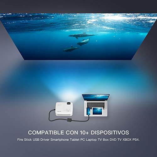 41WpyKr4X%2BL - Proyector APEMAN Mini Portátil Proyector de Cine en Casa 3800 Lúmenes Altavoces Duales Incorporados 50000 Horas Soporte HD 1080P HDMI/USB/VGA/AV/Micro SD (Incluye HDMI/AV/Cable de Alimentación)