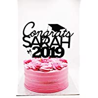 Personalised 2019 Graduation Black Glitter Card Cake Topper, Graduation Cake Decoratons