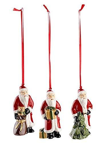 "Villeroy & Boch Nostalgic Ornaments Baumschmuck ""Santa"", 3er Set, Porzellan, Rot"