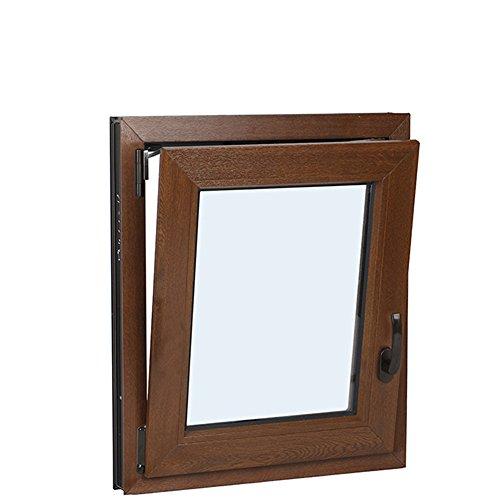 Schüco–Finestre in PVC, Vetro Climalit oscillobattente –Bianco e Colore Legno (larghezza 60cm x 60cm grande, Noce Scuro)