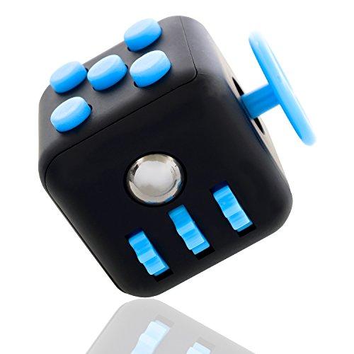 Preisvergleich Produktbild Premium Fidget Cube mit 6 verschiedenen Funktionen in Geschenkverpackung - Original digitCUBE, unser Anti Stresswürfel gegen Nervosität - Unterhaltsames Gadget in hochwertiger Qualität (Blau)