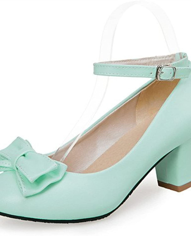 ZQ los zapatos de cuero sint¨¦tico talones primavera / verano / oto?o talones de la boda / vestido / bowknotblack...