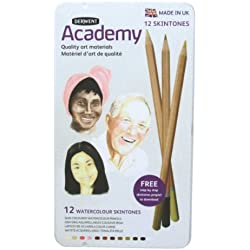 Derwent Academy Watercolour - Lápices acuarelables (12 unidades, para retratos, en estuche de metal), color carne