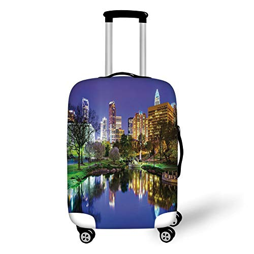 Travel Luggage Cover Suitcase Protector,City,North Carolina Marshall Park United States American Night Reflections on Lake Photo,Multicolor,for Travel,S