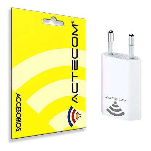 ACTECOM® CARGADOR PLANO BLANCO 1A USB PARA IPHONE 4 IPHONE 4GS IPHONE 3GS 3G PARED RED