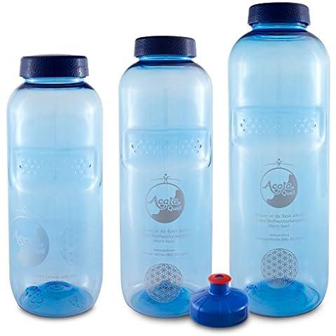 AcalaQuell - Botellas de plástico Tritán con diseño de la flor de la vida