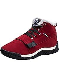 Kootk Hombres Zapatillas Entrenadores Lace-Ups Zapatos Invierno Faux Pelaje Forrado Nieve Botas Casual Combate Excursionismo Montaña Deporte Al aire libre Botas rojo Negro Azul 39-45