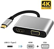 USB C to HDMI VGA Adapter,XVZ USB Type C Hub with 4K HDMI, 1080P VGA,2 Screens Same Display,Compatible with Ni