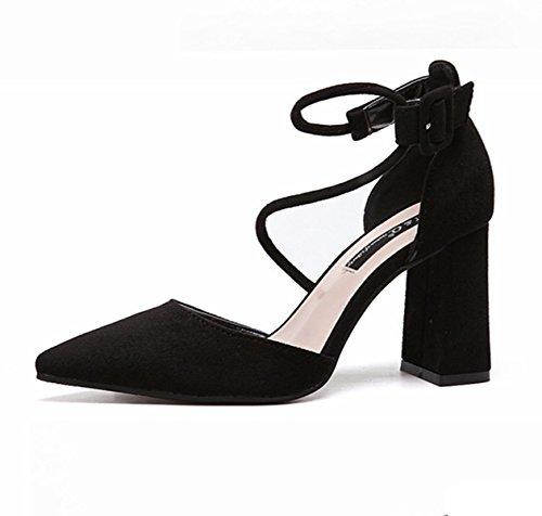 Damen Pumps Nubukleder Klassische Trendige High Heels Lässige Schnalle Leichte Bequeme Elegante Pumps Schwarz