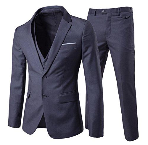 Allthemen Herren 3-Teilig Slim Fit Anzug Zwei Knöpfe Business Sakko -