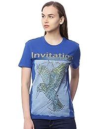 Wolfpack Invitation to Migrate Royal Blue Round Neck Short Sleeve 100% Cotton Girls/Womens Tshirt for Explorer & Adventurous Folk