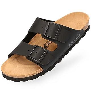 BOnova Herren Pantolette Schwanberg in 4 Farben, Bequeme Hausschuhe mit Kork-Fußbett und Riemen aus Leder - Sandalen hergestellt in der EU schwarz 44