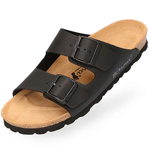 BOnova Herren Pantolette Schwanberg in 4 Farben, Bequeme Hausschuhe mit Kork-Fußbett und Riemen aus Leder - Sandalen hergestellt in der EU schwarz 47