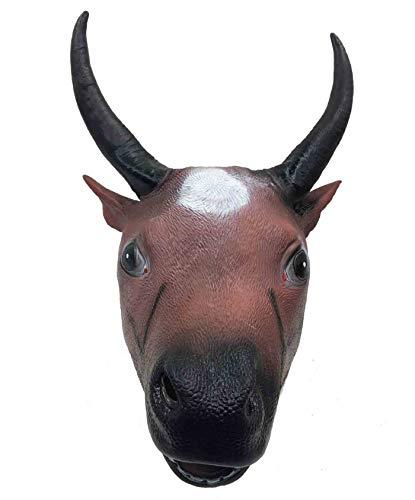 Xgsco Stierkopf Pferd Gesichtsmaske, Halloween braun stierkopf Latex Maske kostüm zubehör Horror Deluxe böse neuheit Maske Maskerade Party Cosplay Requisiten