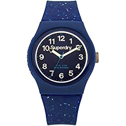 Superdry SYL167U Ladies Urban Blue Silicone Strap Watch with Gold Glitter