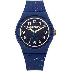 Superdry SYL167U Ladies Urban Blue Silicone Strap Watch with Gold Glitter