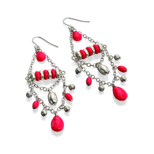 fiorelli-costume-collection-womens-e3724-imitation-coral-and-silver-chandelier-bead-earrings