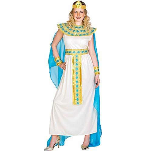 El disfraz de Cleopatra para mujer se compone de tela de jersey elástica, chifón y organza y cuenta con un vestido precioso, cinturón, adorno para el pelo tipo corona y cuello y adorno para la muñeca con cierre de velcro, Material: 100% poliéster.  E...
