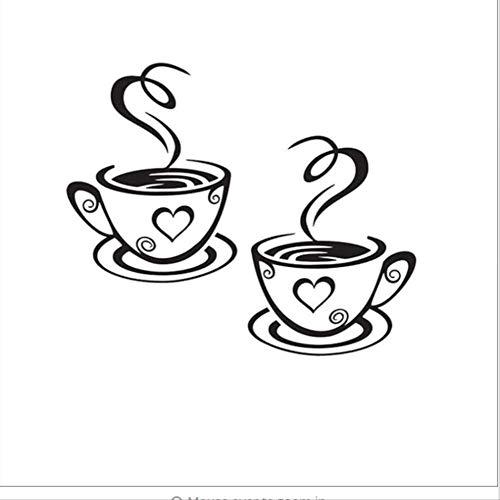 hfwh Wandtattoo Wandaufkleber, Zwei Kaffee-tassen Küchenbar Wandaufkleber Living Room Restaurant Hintergrund Kunst Dekorativen Aufkleber Zu Hause Dekoration