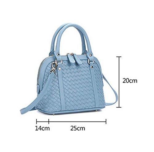Handgewebte Normallackschalen-Beutel-Schulterbeutel Kurierbeutel-Damehandtasche Blue