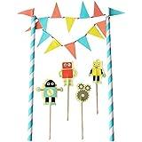 TRIXES Novedosa Pancarta Banderines de Robot Terminación Decoración Pastel de Cumpleaños