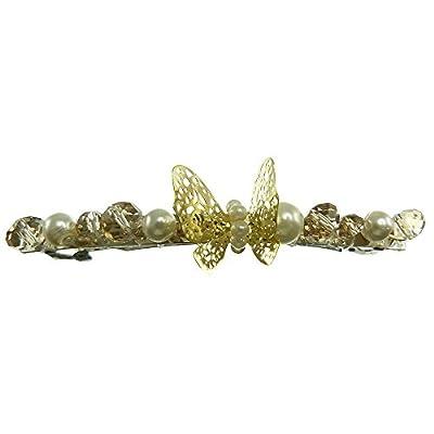 Pince à cheveux fins barrette mèche papillon doré perles nacrée blanche et perle champagne shabby chic