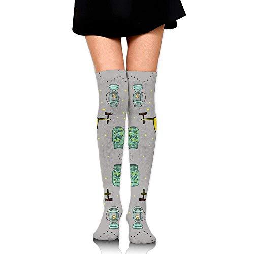 quanzhouxuhuixiefu Camper Firefly Mason Jar Lanterns Training Socks Crew Athletic Socks Long Sport Soccer Socks Soft Knee High Sock Compression Socks for Men Women 50CM