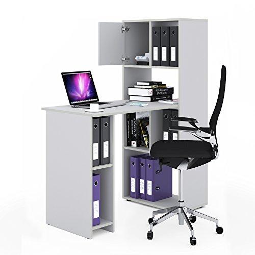 VICCO Schreibtisch Regalkombination 144cm Höhe Arbeitstisch Regal Ordner Akten Büro PC-Tisch - perfekt für das Arbeitszimmer (Weiß) - Weiß Schrank Schreibtisch