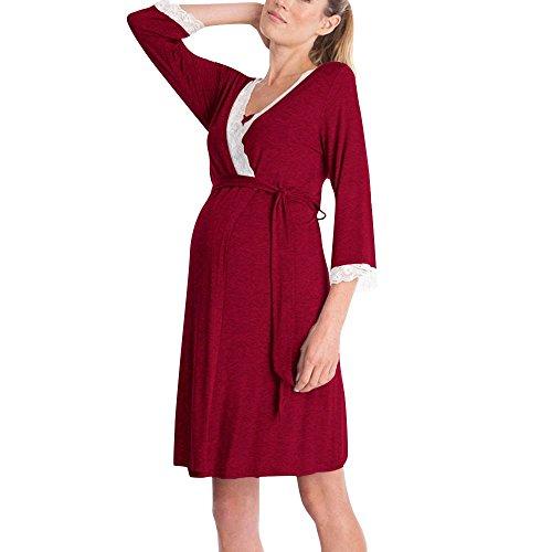 QinMM Vestido de Lactancia Maternidad de Noche Camisón Mujeres Embarazadas Ropa de Dormir Premamá Pijama Verano Encaje (Vino-Larga, XXL)