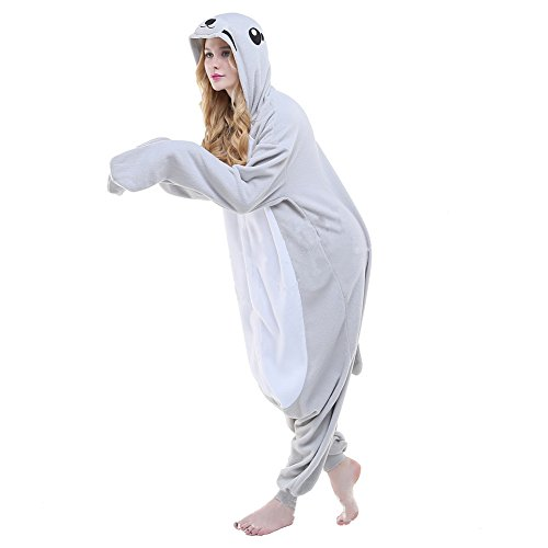 Kostüm Kinder Seal (Colourfulworld Einhorn Pyjamas Tierkostüme Fleece Overall Schlafanzug Tier Unicorn Kostüme Cosplay Tieroutfit Für Kinder / Erwachsene (L, seal))
