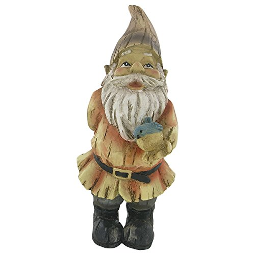 Woodland-Garden-Gnome-Blue-Bird-Neutral-Colour-Outdoor-Sculpture-Ornament-H21cm