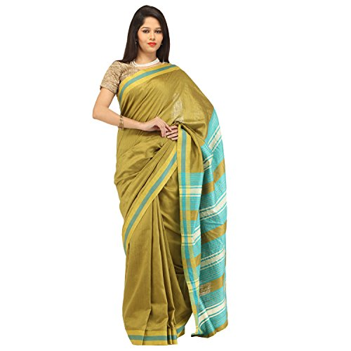 Romi's Pure Tussar Silk Handloom Saree (Mehndi with Turquoise & Cream Border)