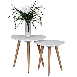 Wohnling Beistelltisch Scanio Form Dreieck Skandinavischer, Matt Lackierter Wohnzimmertisch mit Holz-Gestell, Wohnzimmer Möbel Tisch, Dreibein Couchtisch 2 Teilig, 2er Set, weiß