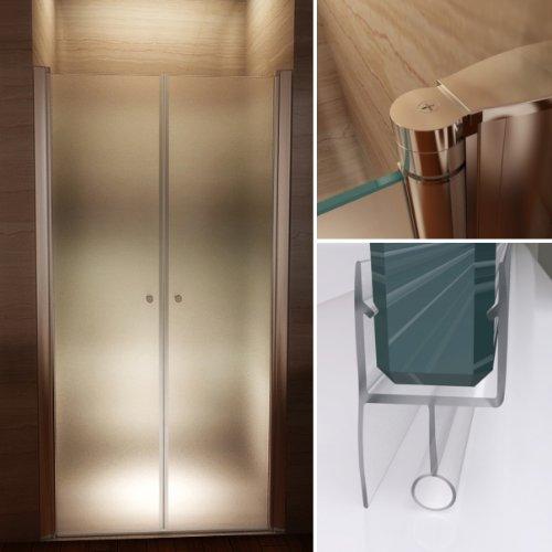 108 Hoch Duschvorhang (Satinierte Duschtür aus 6mm Sicherheitsglas mit Nanobeschichtung, HÖHE: 185 cm - ALLE GRÖßEN (110cm - Verstellbar: 108-112 cm))