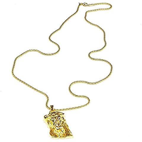 Cadena de palomitas - SODIAL(R) Collar pendiente de oracion a Jesucristo de aleacion de oro de Hip-Hop Cadena de palomitas de maiz