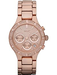DKNY NY8508 - Reloj analógico de cuarzo para mujer con correa de acero inoxidable, color rosa