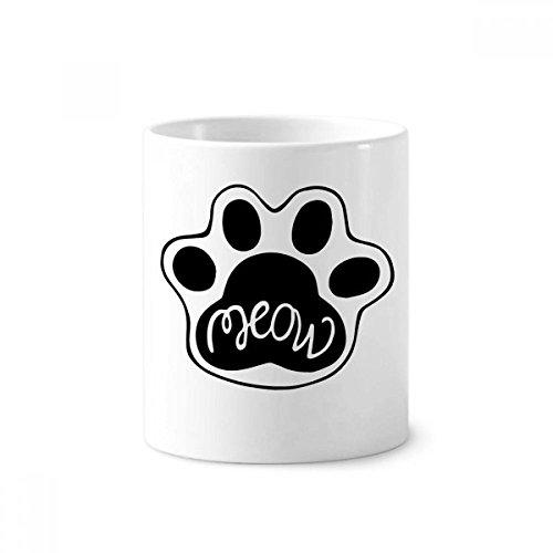 Meow Cat Paw Zitat DIY Design Keramik Zahnbürste Stifthalter Becher weiß Tasse 350ml Geschenk -