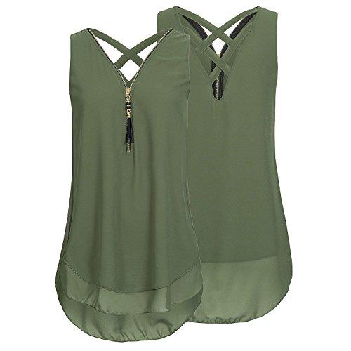 Juleya Camisa Mujer Grand Talla Blusas de Gasa Blusas de Sin Mangas Mini  Vestidos Camisas Largas c9e8bc294d0