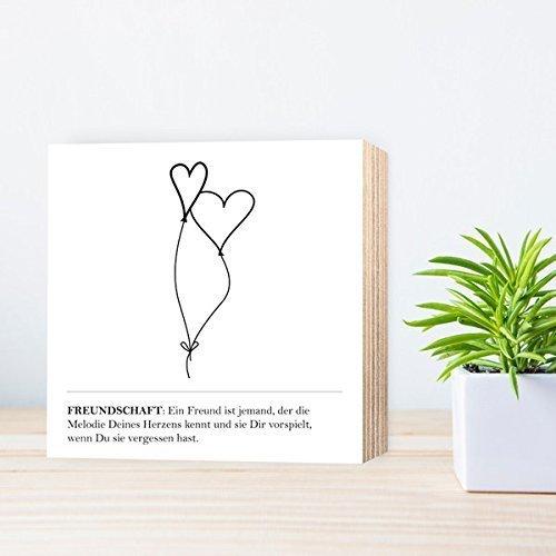 freundschaft liebe personalisierbarer individueller druck mit spruch auf holz 15x15cm. Black Bedroom Furniture Sets. Home Design Ideas