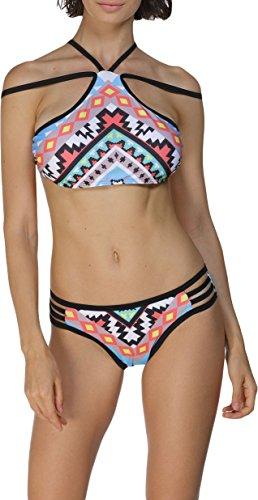 Damen Bikini Bustier Bademode Badeanzug Neckholder Necktop Slip Top Cut Outs Paisley Bunt CutOuts 42/44 (Etikett L)