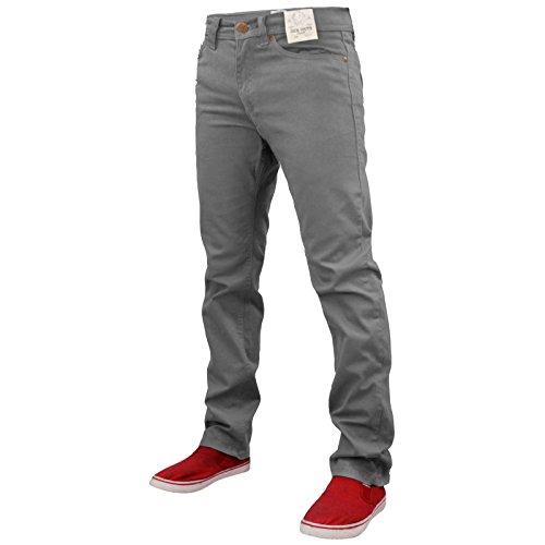 Men's Jacksouth Brayn Jeans Skinny Fit Stretch Cotton Twill Chinos Denim Grey Marl