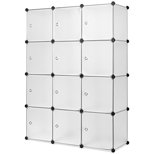 HOMFA Kleiderschrank DIY Schrank Garderobenschrank Stufenregal Regalsystem Faltschrank Allzweckschrank Aufbwwahrung weiß 110x36.5x145cm