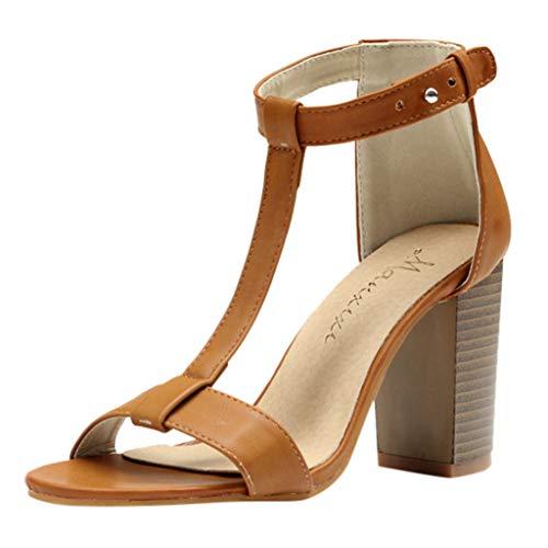 SHE.White High Heels Sandalen Damen Blockabsatz Knöchelriemen Sexy Offene Zehen Sandaletten Schuh Größe Neu T-Strap Freizeit Römische Sandalen Schwarz Braun -