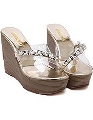 Zapatillas Cool 11.5cm Tacón de cuña Diamante Perforación Transparente Sandalias Zapatos casuales Mujer Punta abierta 4cm Grueso Plataforma Universidad Fondo grueso Playa Zapatos Muffins Zapatillas Ta , gold , 38