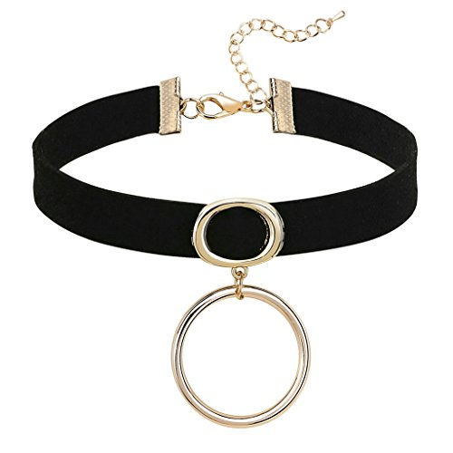 Gnzoe Donna Choker Girocollo Collane Adjutable, Velluto Oval O-Ring Forma Pendente Gotico Collare Nero Rose Oro, 31.5+8.5 CM