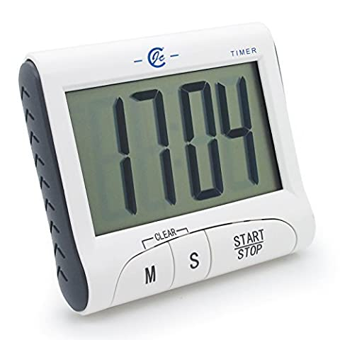 JCC New Version! Large Display Electronic Digital Countdown and Count up Loud Alarm Kitchen Timer / Sport Stopwatches with Clock Function (Magnet and Stand)
