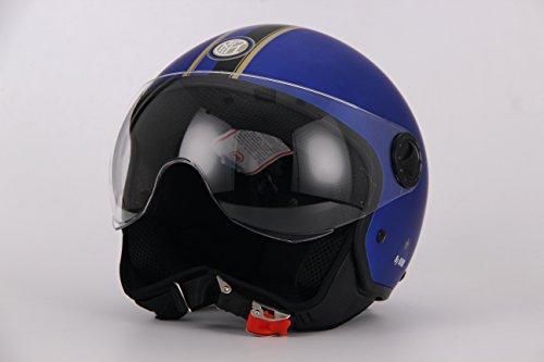 BHR 94905 Casco Demi-Jet Linea One Modello Calcio, Inter Blue Opaco 801, L
